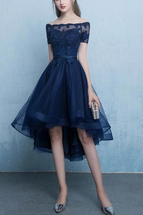 Navy Blue Tulle Homecoming Dress, Cute Homecoming Dress 2019, Short Party Dress