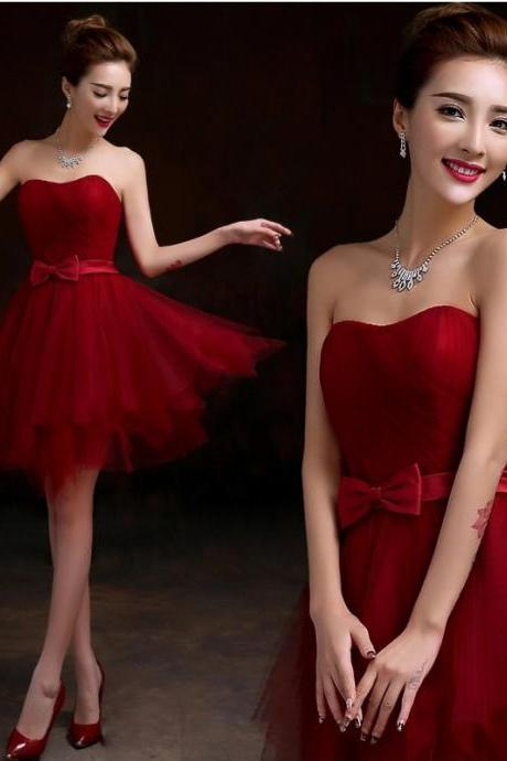 Dark Red Tulle Sweetheart Knee Length Party Dress, Red Homecoming Dress 2019