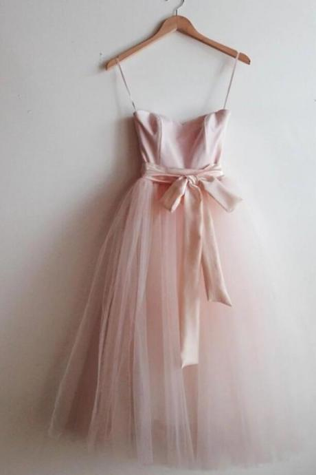 Pink Straps Tull Party Dress, Lovely Formal Dress for Wedding