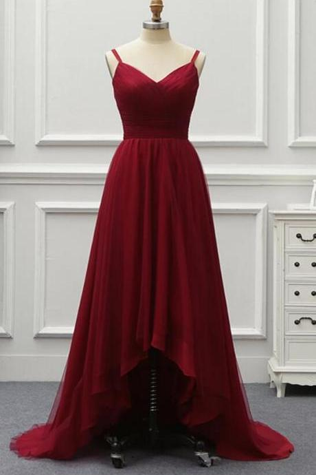 Dark Red High Low Party Dress 2019, Women Straps Bridesmaid Dresses