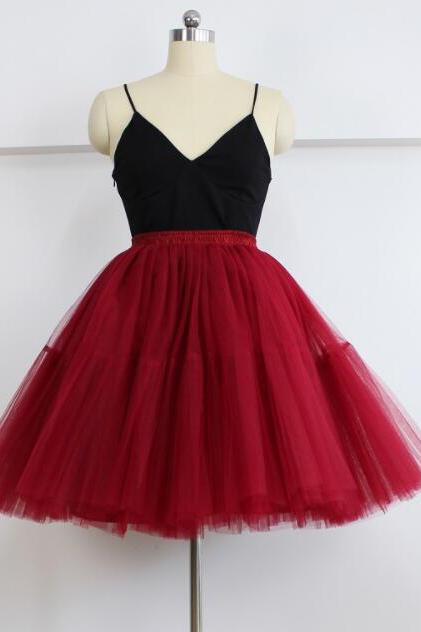 Cute Dark Red Skirt, Skirts Red Tutu Skirts, Midi Tulle Red Skirts Tutu Skirt