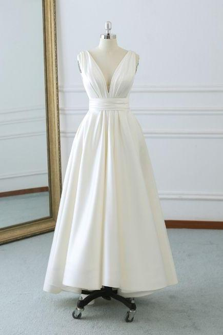 Beautiful Ivory Satin V-neckline New Wedding Dress, Charming Tea Length Wedding Dress with Bow