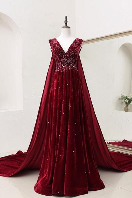 Dark Red Velvet Long Prom Gown, Evening Party Dress with Beadings