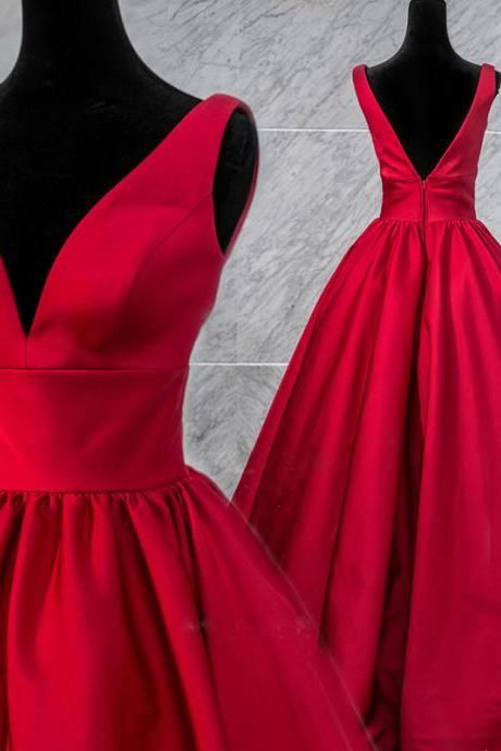 Beautiful Red V-neckline Satin Long Party Dress, Red Prom Dress 2020