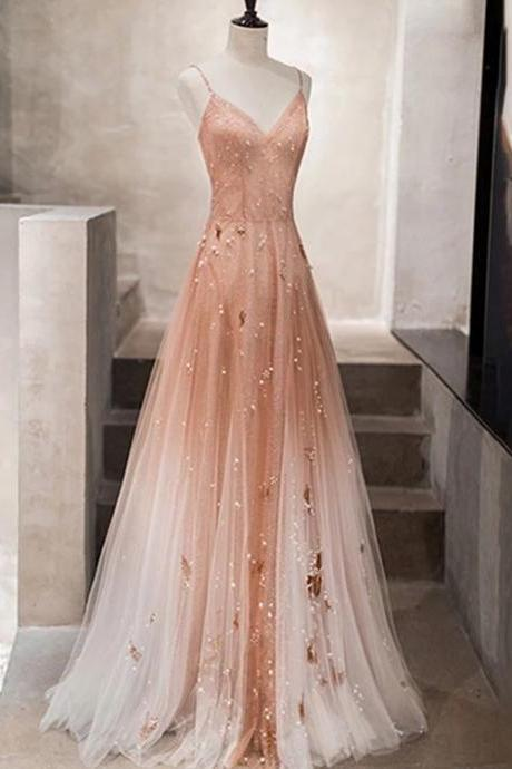 Chariming Pink Long Evening Gown, Long Prom Dress 2020