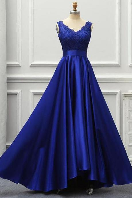 Beautiful Blue Satin and Lace V-neckline Long Party Dress, Bridesmaid Dress with Bow