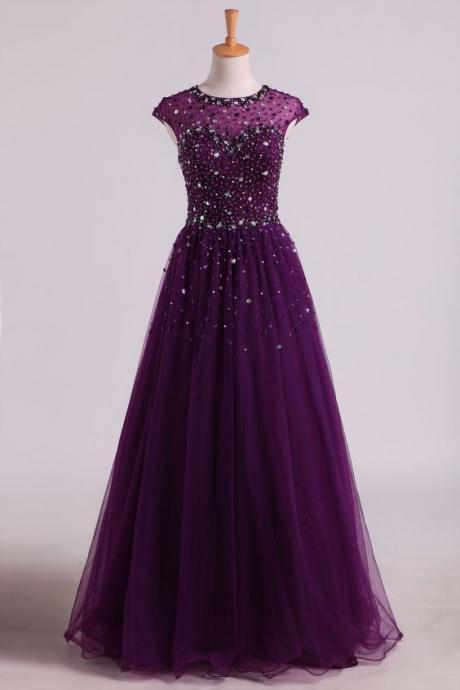 Dark Purple Beaded Tulle Long Prom Dress, New Prom Dress 2020