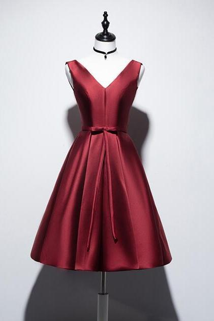 Beautiful V-neckline Wine Red Homecoming Dress 2020, Short Prom Dress