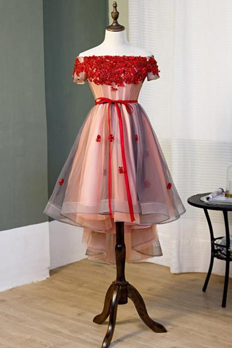 Red High Low Tulle Party Dress with Lace Applique, Red Homecoming Dress