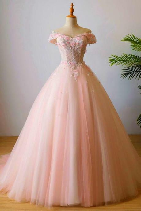 Pink Tulle High Quality Prom Dress, Lovely Long Party Dress 2020