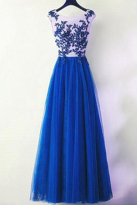 Charming Blue Tulle Long Party Dress, A-line Bridesmaid Dress