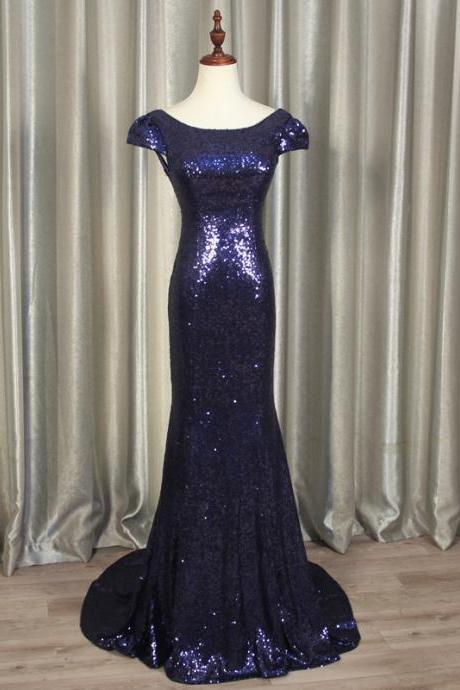 Beautiful Blue Sequins Mermaid Party Dress, New Formal Dress 2020