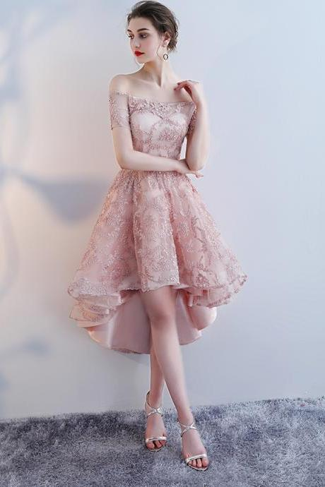 Charming Pink Handmade Lace Evening Party Dress, Lovely Formal Dress