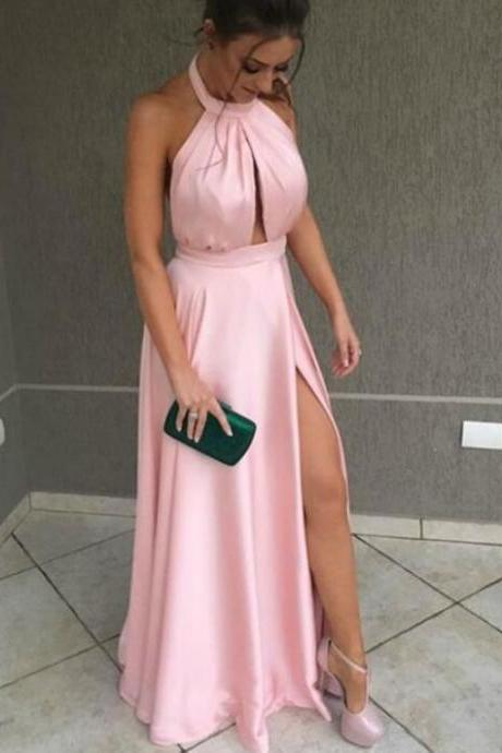 Charming Pink Halter Cut Out Halter Pleats Prom Dress With Side Split, Long Party Dress