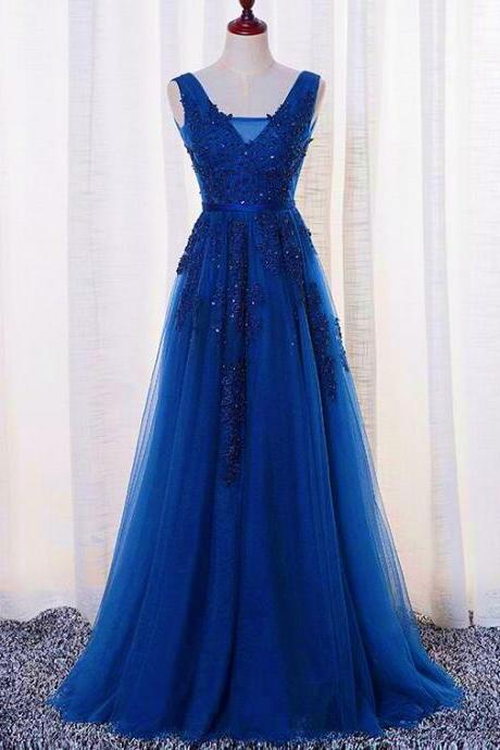 Beautiful Blue Long Lace Applique V-neckline Party Dress, Blue Prom Dress