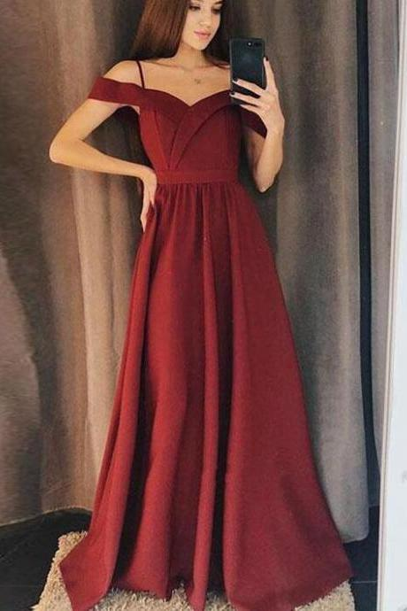 Lovely Wine Red Off Shoulder Prom Dress, Spaghetti straps Long Prom Dress