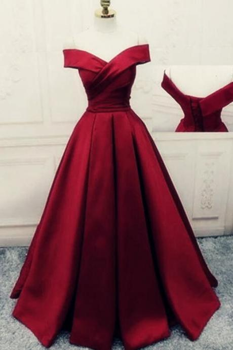 Elegant Burgundy Satin New Prom Dress 2020, Sweetheart Long Red Party Dress