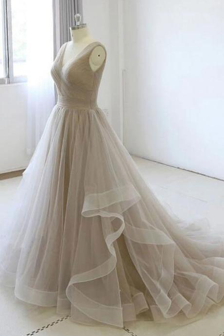 Champagne V-neckline Tulle Simple Wedding Party Dress, Long Evening Gown