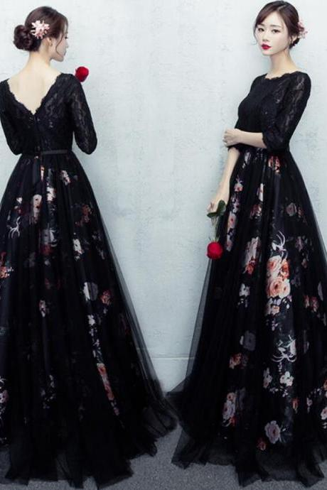 Beautiful Black Long Round Neckline Prom Dress, Black Party Dress