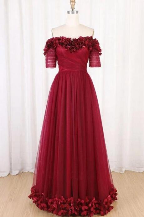 Beautifl Wine Red Tulle Short Sleeve Formal Dress, New Prom Dresses