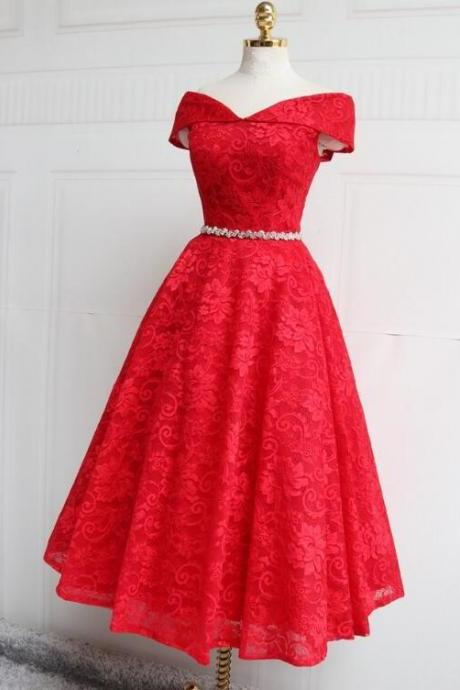 Beautiful Red Lace Bridesmaid Dress, Tea Length Lace Formal Dress