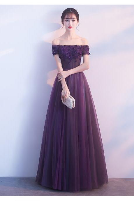 Beautiful Dark Purple Tulle Sweetheart Party Dress, Off Shoulder Formal Gown