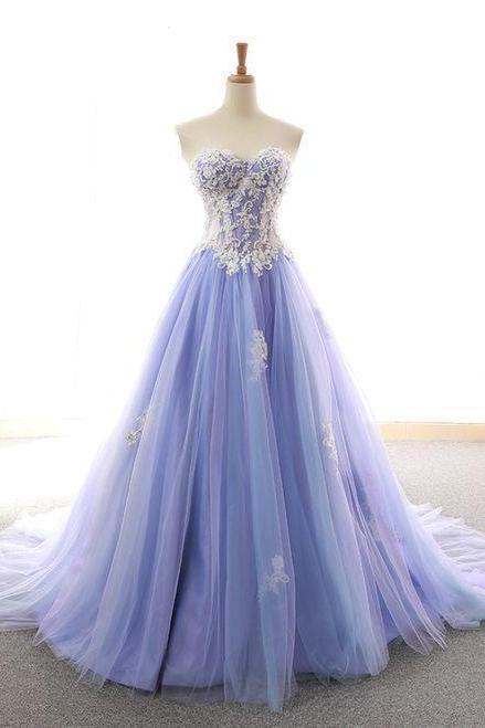Beautiful Purple Tulle Long Prom Dress 2020, Sweet 16 Gown