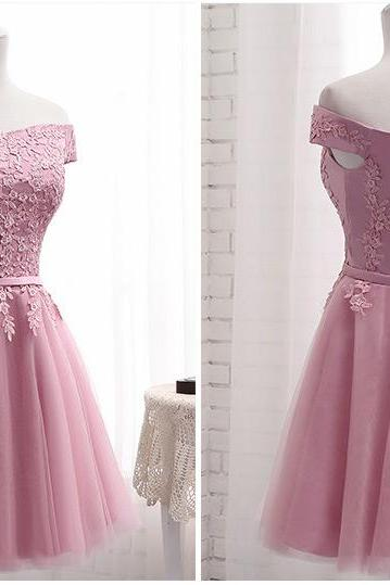 Cute Short Pink Tulle Off Shoulder Party Dress, Pink Bridesmaid Dress