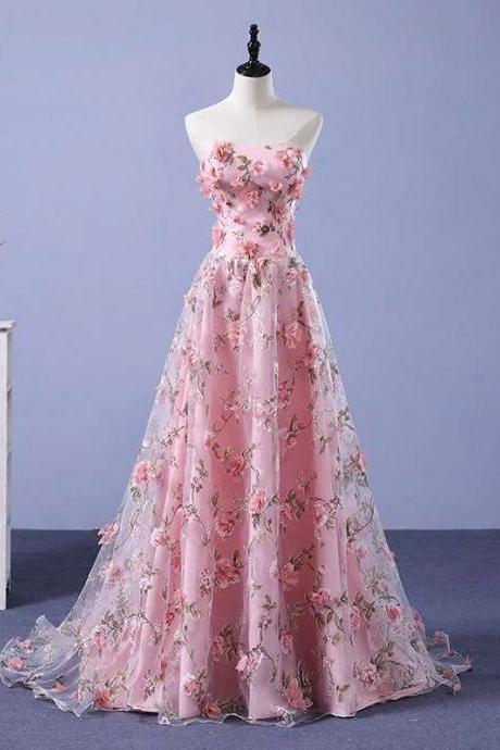 Beautiful Pink Flowers Party Dress, A-line Bridesmaid Dress
