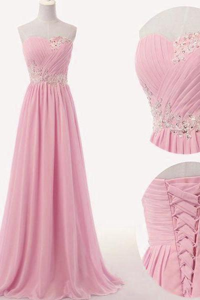 Pink Chiffon Sweetheart Long Chiffon Bridesmaid Dress, A-line Prom Dress