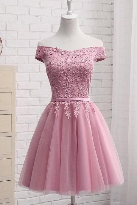 Adorable Pink Tulle Knee Length Party Dress, Short Prom Dress 2020