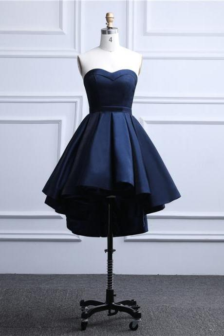 Blue Satin High Low Party Dress, Sweetheart Formal Dress 2020