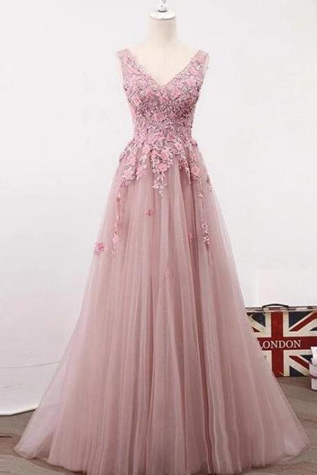 Pink Lace V-neckline Tulle with Floral Lace Applique, Long Party Dress 2020