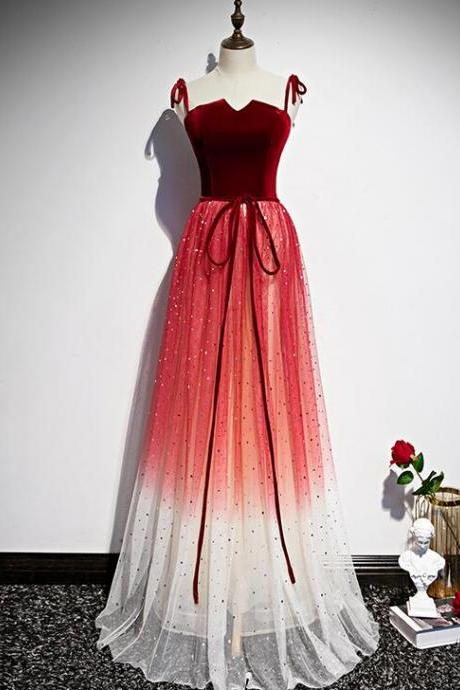 Beautiful Red Gradient Tulle Long Prom Dress, New Formal Dress 2020