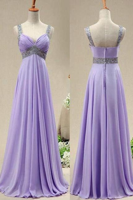 Purple Chiffon Party Dress, A-line Straps Wedding Party Dress 2020