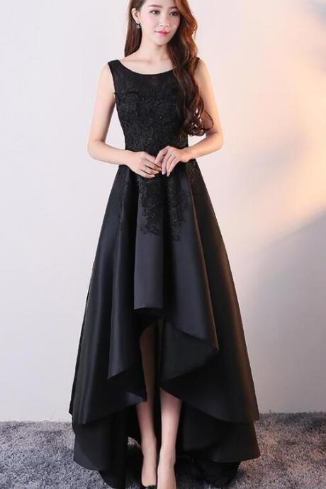 Black High Low Satin Stylish Wedding Party Dress, Black Bridesmaid Dress