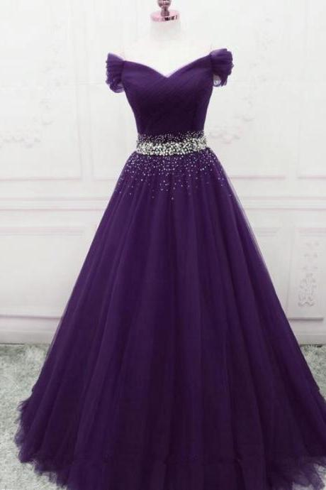 Beautiful Purple Off Shoulder Long Evening Gown, Prom Dress 2020