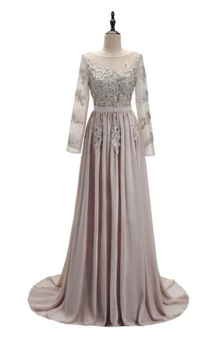 Beautiful Grey Long Sleeves Chiffon Party Dress with Lace, Wedding Party Dress