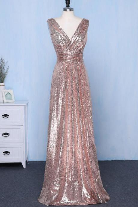 Champagne Sequins Bridesmaid Dress Long, V-neckline Prom Dress