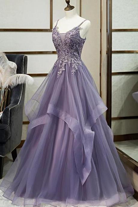 Charming Purple Long Formal Gown, Straps Long Prom Dress 2020