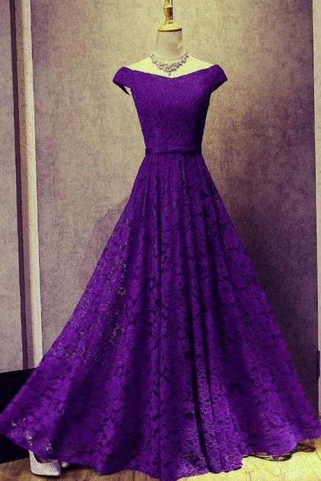 Beautiful Lace Purple Long Bridesmaid Dress, Off Shoulder Party Gown