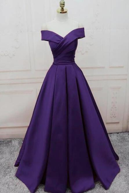 Purple Satin Long Party Dress, A-line Off Shoulder Junior Prom Dress
