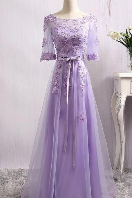 Lovely Purple Tulle Long Bridesmaid Dress, Shor Sleeves Tulle Prom Dress