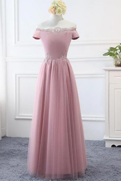 Lovely Pink Tulle Long Bridesmaid Dress 2020, Off Shoulder Evening Gown