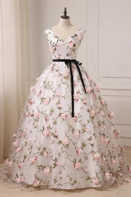 Beautiful V-neckline Flowers Long Sweet 16 Dress, Long Party Dress