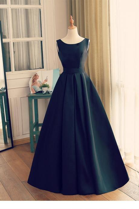 Beautiful Long Black Satin Evening Gown, Backless Long Prom Dress