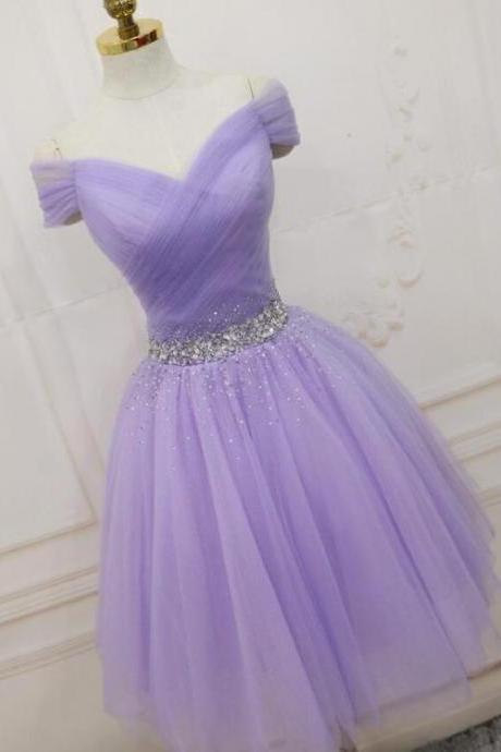 Cute Light Purple Sweetheart Knee Length Homecoming Dress, Short Prom Dress