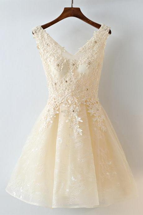 Adorable Champagne Short Lace V-neckline Homecoming Dress, Short Prom Dress