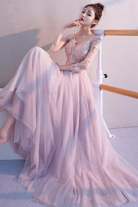 Pink Tulle Fashion Long Sleeves Formal Dress, Pink Tulle Bridesmaid Dress Evening Dress