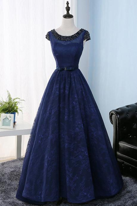 Blue Lace Round Neckline Backless Long Formal Dress, Lace Evening Dress